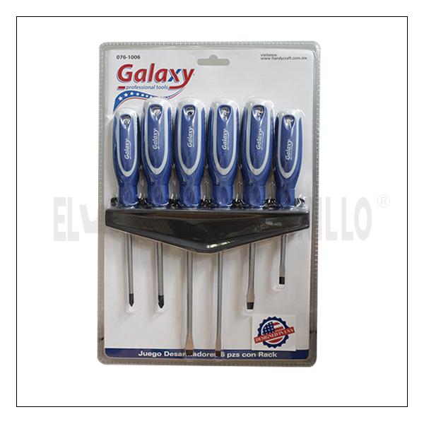 Juego Desarmadores Galaxy 6 Pzs C/Rack
